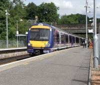 Platform view north at Bridge of Allan on 15 June as 170 459 calls with a Dunblane - Glasgow Queen Street service.<br><br>[David Panton 15/06/2010]