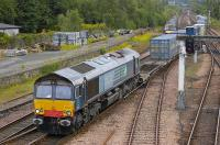 DRS 66417 takes the Dundee line at Perth with the 4A13 Grangemouth - Aberdeen intermodal service on 27 June.<br> <br><br>[Bill Roberton&nbsp;27/06/2010]