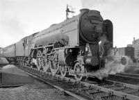 A2 Pacific no 60525 <I>A H Peppercorn</I> about to get <I>The Aberdonian</I> underway at the start of its 530 mile journey to London Kings Cross. Thought to have been photographed around 1957.<br><br>[Robin Barbour Collection (Courtesy Bruce McCartney)&nbsp;//1957]
