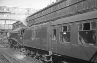 60019 <I>Bittern</I> shortly after arrival at Aberdeen on 3 September 1966 with the last BR scheduled A4 return service from Glasgow Buchanan Street. [See image 27834]<br><br>[K A Gray&nbsp;03/09/1966]