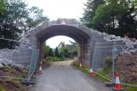 Demolition of the bridge that was intended to carry a direct line chord from Oban to Ballachulish at Connel Ferry on 29 June 2010. [See image 29610]<br><br>[Colin Miller&nbsp;29/06/2010]