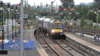 Arrival at Stirling on 16 June 2010. 170 396 runs into platform 6 on a Glasgow Queen Street - Alloa service.<br><br>[David Panton&nbsp;16/06/2010]