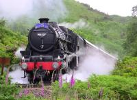 Black 5 no 45231 leaves Glenfinnan on Sunday 27 June with <I>The Jacobite</I> heading for Mallaig. <br><br>[Colin Miller&nbsp;27/06/2010]