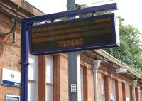 The platform information board on platform 4 at Ayr on 3 July 2010 suggests that the Compass Tours charter is being operated by National Express! Most other stations where we stopped displayed the calling points and listed the service as 'Private Charter'. There were several announcements on board the train when we stopped at stations in the early part of the journey advising passengers that this was <I>not</I> a Virgin service - and later that it was <I>not</I> a ScotRail service! <br> <br><br>[John McIntyre&nbsp;03/07/2010]