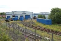 A view east over the Brush Barclay works at Kilmarnock from the Barassie line on 3 July 2010.<br> <br> <br><br>[John McIntyre&nbsp;03/07/2010]