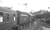 The MRTS/SVRS <I>Farewell to BR Steam</I> railtour stands at the east end of Blackburn station on 28 July 1968 during a photostop. At the head of the train is Britannia Pacific no 70013 <I>Oliver Cromwell</I> on its way to Carnforth via Hellifield. <br><br>[K A Gray 28/07/1968]
