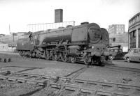 Stanier Coronation Pacific no 46225 <I>Duchess of Gloucester</I> stands ready for the road on Carlisle Upperby shed. Withdrawn from here at the end of September 1964, no 46225 was cut up at the Troon yard of Arnott Young the following month.<br><br>[Robin Barbour Collection (Courtesy Bruce McCartney)&nbsp;//]