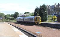 View north at Larbert on 17 June, as 158 722 pulls in with a Dunblane to Edinburgh service.<br><br>[David Panton&nbsp;17/06/2010]
