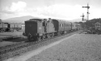 McIntosh 0-4-4T no 55173 approaching the platform at Connel Ferry from the east with the stock of the Ballachulish branch train, most probably the early afternoon service. The date is 9 September 1960.<br><br>[K A Gray&nbsp;09/09/1960]