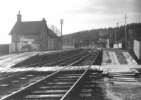 View over Newcastleton station looking towards the level crossing in the 1960s.<br><br>[Robin Barbour Collection (Courtesy Bruce McCartney)&nbsp;//]