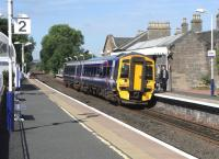 158 721 calls at the always-smart Linlithgow station with a Dunblane to Waverley service on 15 June 2010<br><br>[David Panton&nbsp;15/06/2010]