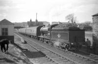 62471 <I>Glen Falloch</I> stands at Earlston with the Branch Line Society <i>Scott Country Rail Tour</i> on 4th April 1959.<br><br>[Robin Barbour Collection (Courtesy Bruce McCartney)&nbsp;04/04/1959]