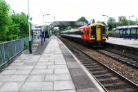 Northbound passenger train at Trowbridge.<br><br>[Ewan Crawford&nbsp;06/06/2010]