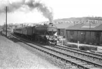 K3 2-6-0 no 61916 of Canal shed takes the 12.25 Hawick - Carlisle past Loch Park PW depot shortly after getting underway on Saturday 3 May 1958.<br><br>[Robin Barbour Collection (Courtesy Bruce McCartney)&nbsp;03/05/1958]