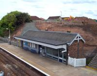 Construction work currently underway at Cupar station on the long-awaited disabled access. View over the up platform on 18 July 2010. [See image 16815] <br><br>[Andrew Wilson&nbsp;18/07/2010]