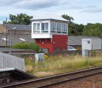 Cupar signal box. View across the running lines from the up platform on 18 July 2010. <br><br>[Andrew Wilson&nbsp;18/07/2010]