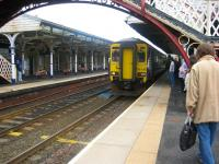 The 1027 service to Newcastle Central (0800 ex Glasgow Central) arrives at Hexham on 21 July 2010 <br> <br><br>[Bruce McCartney&nbsp;21/07/2010]