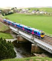 The 12.54 Glasgow Central - Manchester Airport TransPennine Express service crosses the Clyde at Crawford on 11 May 2010. <br><br>[John Furnevel&nbsp;11/05/2010]
