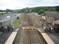 View east from the station footbridge at Hexham, 21 July 2010. Note the old east end semaphore signal gantry has now been removed and replaced by a slightly less photogenic affair [see image 13839] <br><br>[Bruce McCartney&nbsp;21/07/2010]