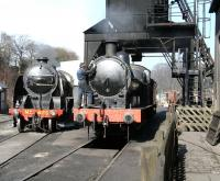 Cleaner at work. A quiet spring afternoon at Grosmont shed in March 2010.<br><br>[John Furnevel&nbsp;26/03/2010]