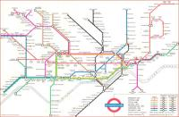 In 1960 London Underground decided its maps needed a new look so <br> hired designer Harold Hutchison to replace Harry Beck.� These maps were not popular, especially (and understandably) with Beck.� The sharp angles are jarring, and that unnecessary business where the Metropolitan crosses the Central Line is just amateurish.� Note the absence of the Victoria Line (then in planning) and the Jubilee (even further into the future).� Hutchinson's maps lasted only a few years.� The next designer, Paul Garbutt, was more faithfull to Beck.<br><br>[David Panton&nbsp;//1960]