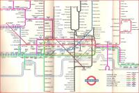 Harry Beck's iconic Underground map was first published in 1933, and <br> he spent the rest of his life almost obsessively revising it (or <br> tinkering with it), not just because of changes in the network.� Some of these revisions were even published.� This one was current in 1957.�Whereas originally the southern end of the Northern Line was a left-pointing diagonal, as it is today, here it is vertical.� Also the bottle shape of the Circle Line was temporarily abandoned for a rectangle. <br> <br><br>[David Panton&nbsp;//1957]