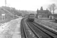 A type 2 runs through Gorebridge with the regular  Hawick - Millerhill Saturday morning locomotive maintenance trip in December 1968. Behind the type 2 is the Hawick pilot (a Clayton) heading back to Millerhill diesel depot. The Hawick shunter also formed part of this train from time to time.<br><br>[Robin Barbour Collection (Courtesy Bruce McCartney)&nbsp;/12/1968]