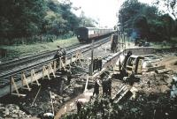 Work underway at Cockburnspath Bank to restore the ECML to fully operational status following flooding in 1956.<br><br>[Frank Spaven Collection (Courtesy David Spaven)&nbsp;//1956]