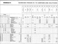 Part of a page from the BR ScR Working Timetable Section B, 17 June to 15 September 1957, showing some of the early morning departures from Edinburgh Princes Street.<br><br>[David Panton&nbsp;11/06/2002]