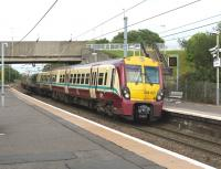 The 15.17 service for Largs runs into Dalry station on 25 July 2010. [See image 21618] for the scene forty seven years earlier.<br><br>[Colin Miller&nbsp;25/07/2010]