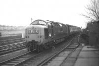 Deltic D9020 <i>Nimbus</i> approaches Berwick station with the up <I>Flying Scotsman</I> on Saturday 21 February 1970. Taken from the short platform�just north of the overbridge.<br><br>[Bill Jamieson&nbsp;21/02/1970]