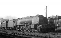 Coronation Pacific no 46257 <I>City of Salford</I> on Kingmoor shed in the early 1960s with Ayr Black 5 no 45194 standing alongside.<br><br>[K A Gray&nbsp;//]