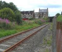 The Rosyth Dockyard branch, looking south along the single line route on 24 July 2010, with Inverkeithing South Junction behind the camera. A train had just passed by here.�In fact it was a fortnight previously [see image 29753] but in terms of this branch that's a twinkling.<br><br>[David Panton&nbsp;24/07/2010]