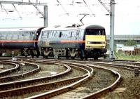 <I>'Pardon me for being so blunt...'</I> A GNER service approaching the west end of Newcastle Central off the King Edward Bridge in April 1997. The first occasion on which I'd witnessed such an arrangement.<br><br>[John Furnevel&nbsp;05/04/1997]
