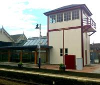 The unique Broughty Ferry signal box that once stood alongside Gray Street level crossing at the east end of the station [see image 27897]. Now restored and relocated midway along platform 1 [see news item].  <br><br>[Derek Smart&nbsp;06/08/2012]