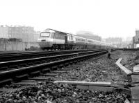 A BR InterCity 125 HST approaching Haymarket in April 1982 with an Aberdeen - Kings Cross service.<br><br>[John Furnevel&nbsp;19/04/1982]