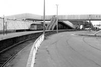 General view of Winton Pier station, Ardrossan in the summer of 1984, with a DMU from Glasgow Central recently arrived at the terminus.<br><br>[John Furnevel&nbsp;07/07/1984]