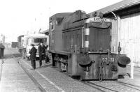 Parking problem in Leith Docks - Barclay DM shunter D2413 arrives from Leith Central depot with a 3-man crew in June 1970 to find the way blocked.<br><br>[John Furnevel&nbsp;02/06/1970]