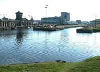 Leith Docks. View northeast from Ocean Drive in April 2004 looking across the former graving docks with Albert Dock beyond.<br><br>[John Furnevel&nbsp;25/04/2004]