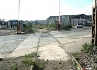 Looking back from the entrance to the docks across Albert Road to Leith South yard, April 2004.<br><br>[John Furnevel&nbsp;28/04/2004]