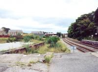 The extensive former goods facilities at Tain, once busy with distillery traffic. View north from the end of the down platform in June 2001. [See image 32140].<br><br>[John Furnevel&nbsp;16/06/2001]