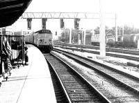 An arrival from the south running into Preston station in 1972 during resignaling work.<br><br>[John Furnevel&nbsp;02/09/1972]