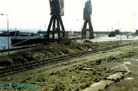 Burntisland Dock viewed from the station. View looks south towards Granton.<br><br>[Ewan Crawford&nbsp;//1988]