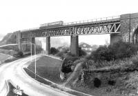 A DMU crossing Jamestown Viaduct in March 1971. View north towards Inverkeithing.<br><br>[John Furnevel 23/03/1971]