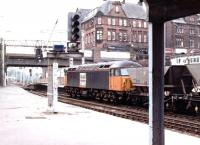 Loadhaul liveried 56107 passes north through Carlisle with coal empties on 11 August 1997.<br><br>[John Furnevel&nbsp;11/08/1997]