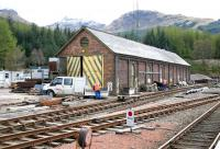 The former locomotive shed and yard at Crianlarich in 2005. Now in use as a permanent way depot.<br><br>[John Furnevel&nbsp;16/04/2005]