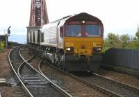 Coal train for Longannet power station drifting down from the Forth Bridge towards North Queensferry in April 2005. Note the cameraman in the cab!<br><br>[John Furnevel&nbsp;28/04/2005]