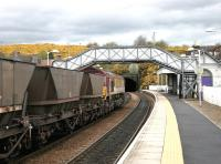 Down coal train passing through North Queensferry station in April 2005 bound for Longannet power station.<br><br>[John Furnevel&nbsp;28/04/2005]