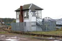 The surviving Rosyth Dockyard signal box in April 2005. View east towards the road and rail bridges.<br><br>[John Furnevel&nbsp;28/04/2005]