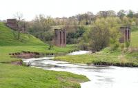 View southeast along the River Devon in April 2005 showing the remaining piers of Glenfoot Viaduct that once carried the Devon Valley line between Alloa and Tillicoultry. [see image 6303]<br><br>[John Furnevel&nbsp;28/04/2005]